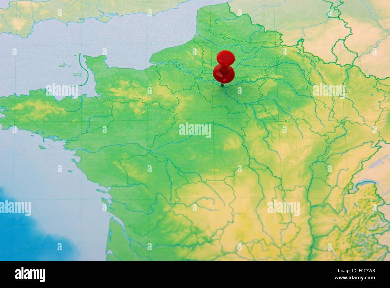 Map City Paris Map Pin Stock Photos & Map City Paris Map Pin Stock ...