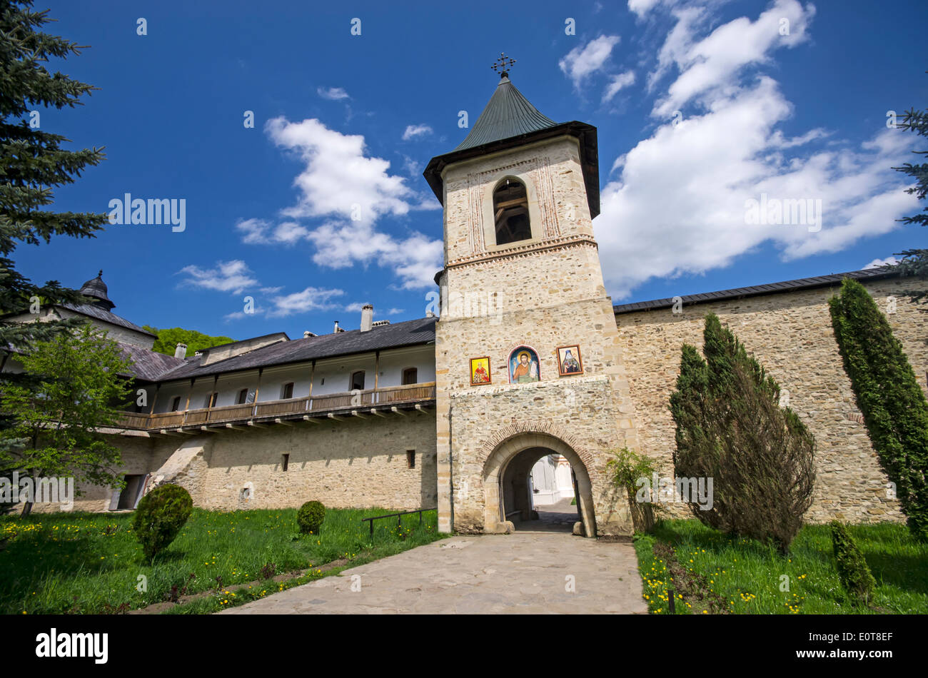 Secu monastery surrounding stone walls and entrance tower, Moldavia - Romania - Stock Image