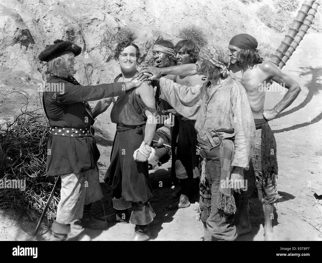 Donald Crisp, (left), Douglas Fairbanks, on-set of the Film, 'The Black Pirate', 1926 - Stock Image
