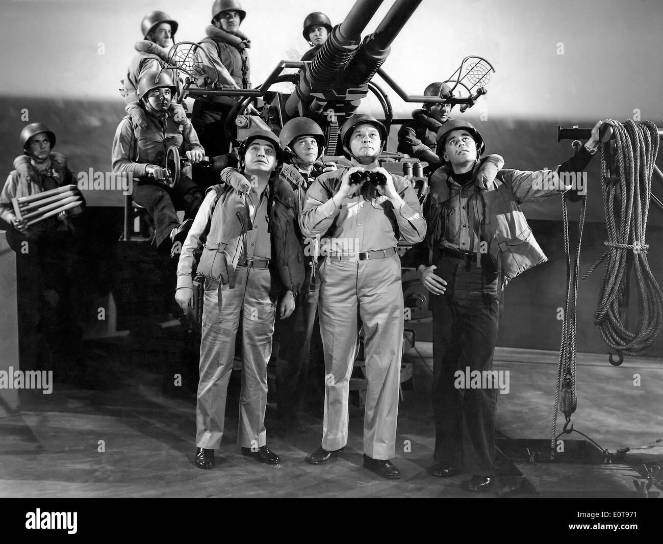 Edward G. Robinson, (left), Glenn Ford, (right), on-set of the Film, 'Destroyer', 1943 - Stock Image