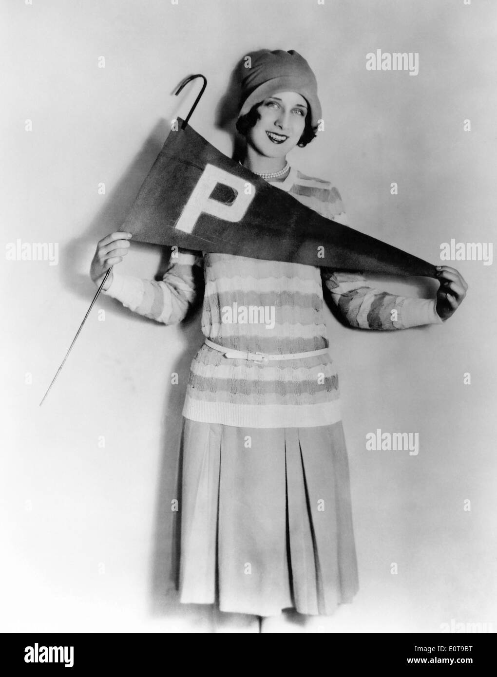 Norma Shearer, Actress, Publicity Portrait Holding Pennant, circa 1920's - Stock Image