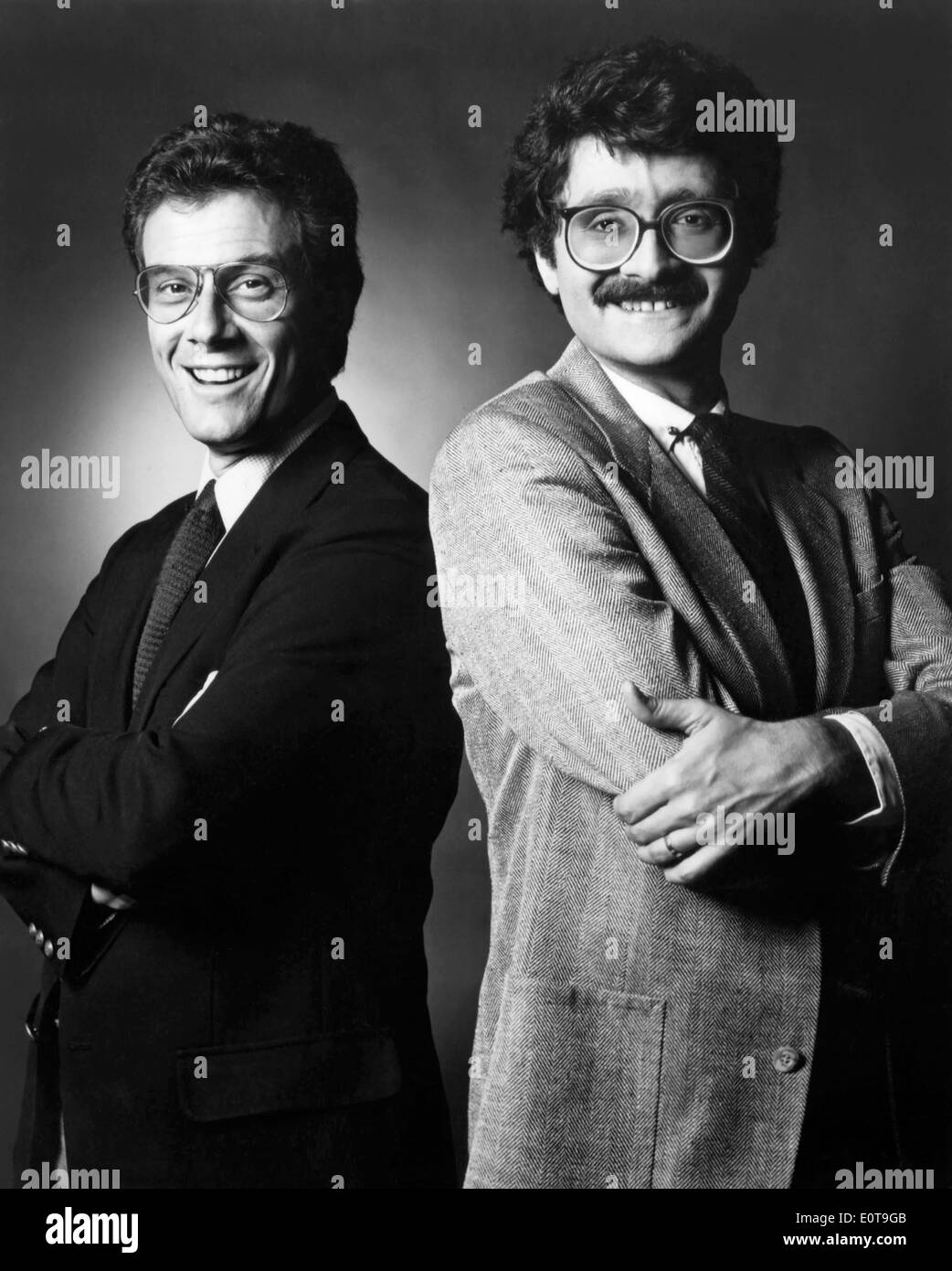 Jeffrey Lyons and Michael Medved, American Film Critics, Publicity Portrait for their Television Show, 'Sneak Previews', 1986 - Stock Image