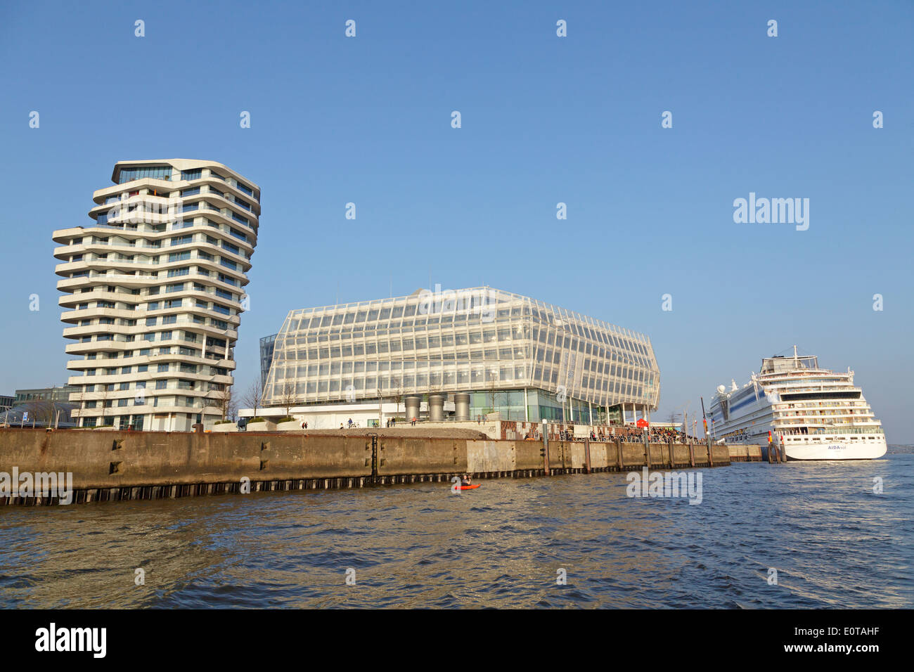 Marco Polo Tower, Unilever House, and AIDAsol cruiser, Harbour City, Hamburg, Germany - Stock Image