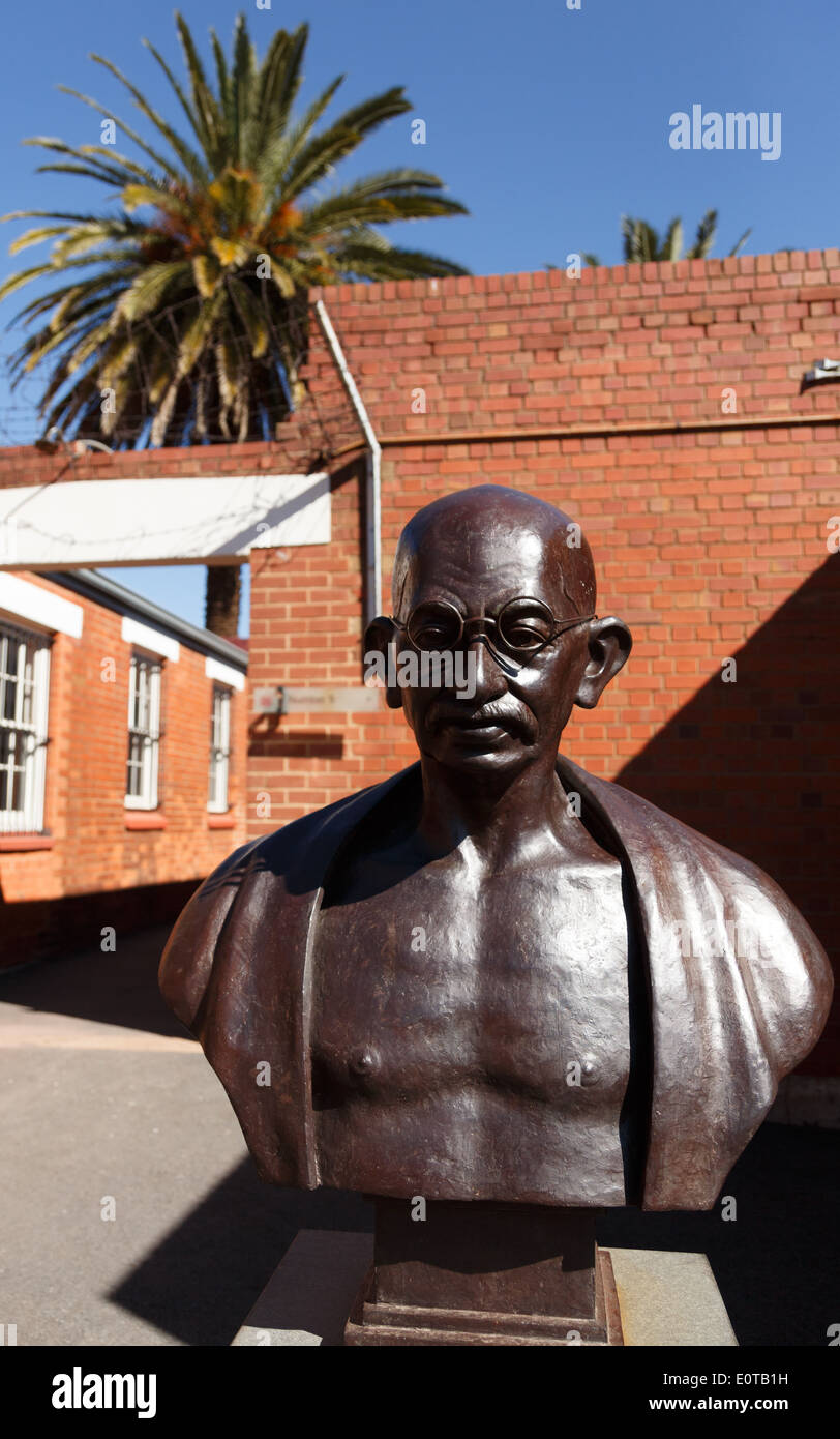 Bust of Mahatma Gandhi at the Constitution Hill of Johannesburg, South Africa, where he was once imprisoned. - Stock Image