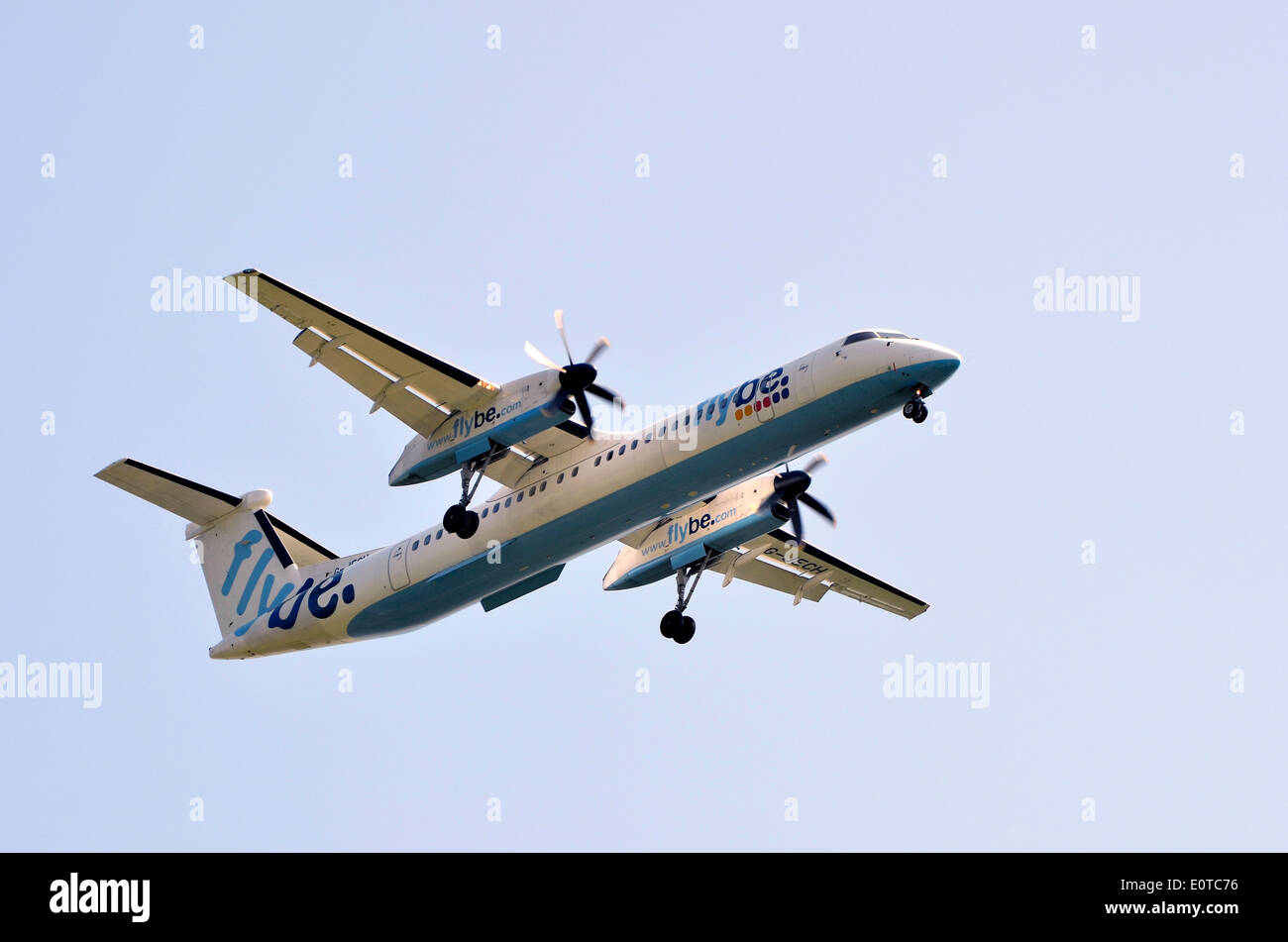 Flybe Bombardier Dash 8 Q400 aircraft on final approach to Southampton Airport, Eastleigh, Hampshire - Stock Image