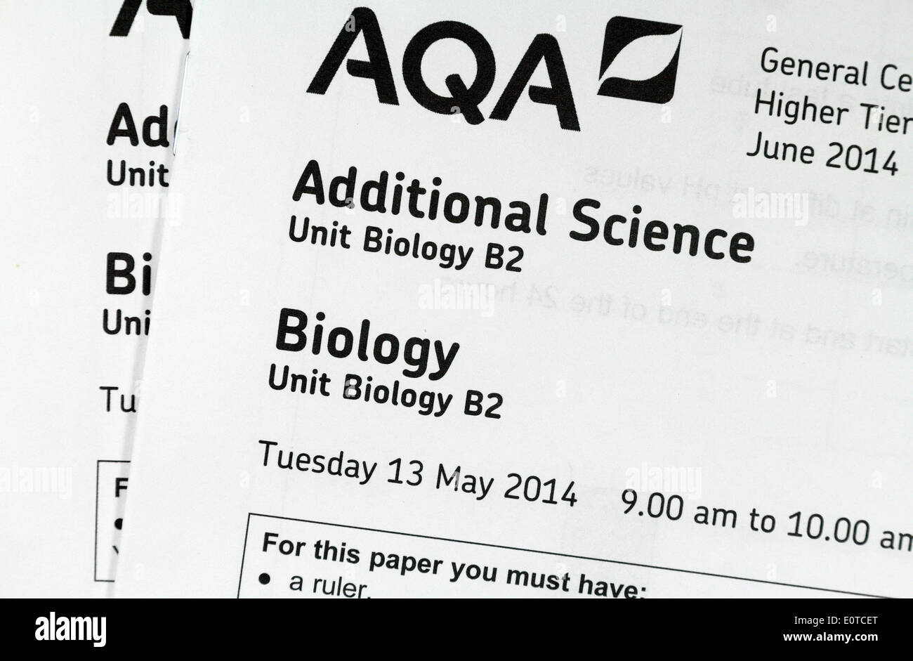 Latest UK GCSE Additional Science Biology exam paper (AQA board) sat on 13th May 2014. - Stock Image