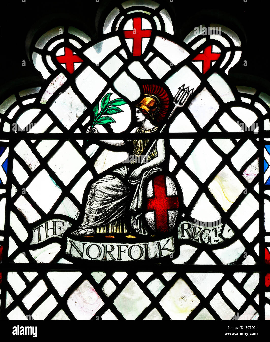 Memorial stained glass to the Norfolk Regiment, who disappeared in 1st World War, by Karl Parsons 1920, Arts and Crafts style - Stock Image