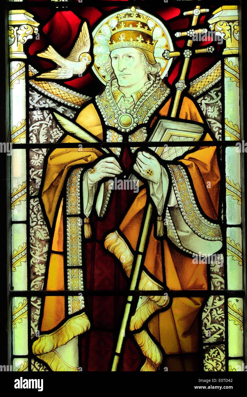 Pope St. Gregory, one of the 4 Latin Doctors, stained glass window by Heaton, Butler & Bayne, c.1890, West Newton, - Stock Image