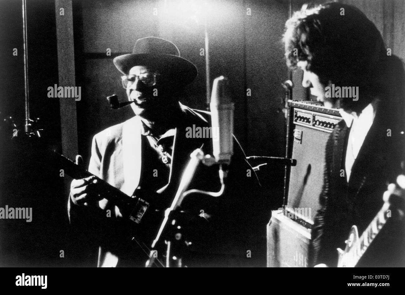Musicians Albert King & Gary Moore during Performance, circa 1980's - Stock Image