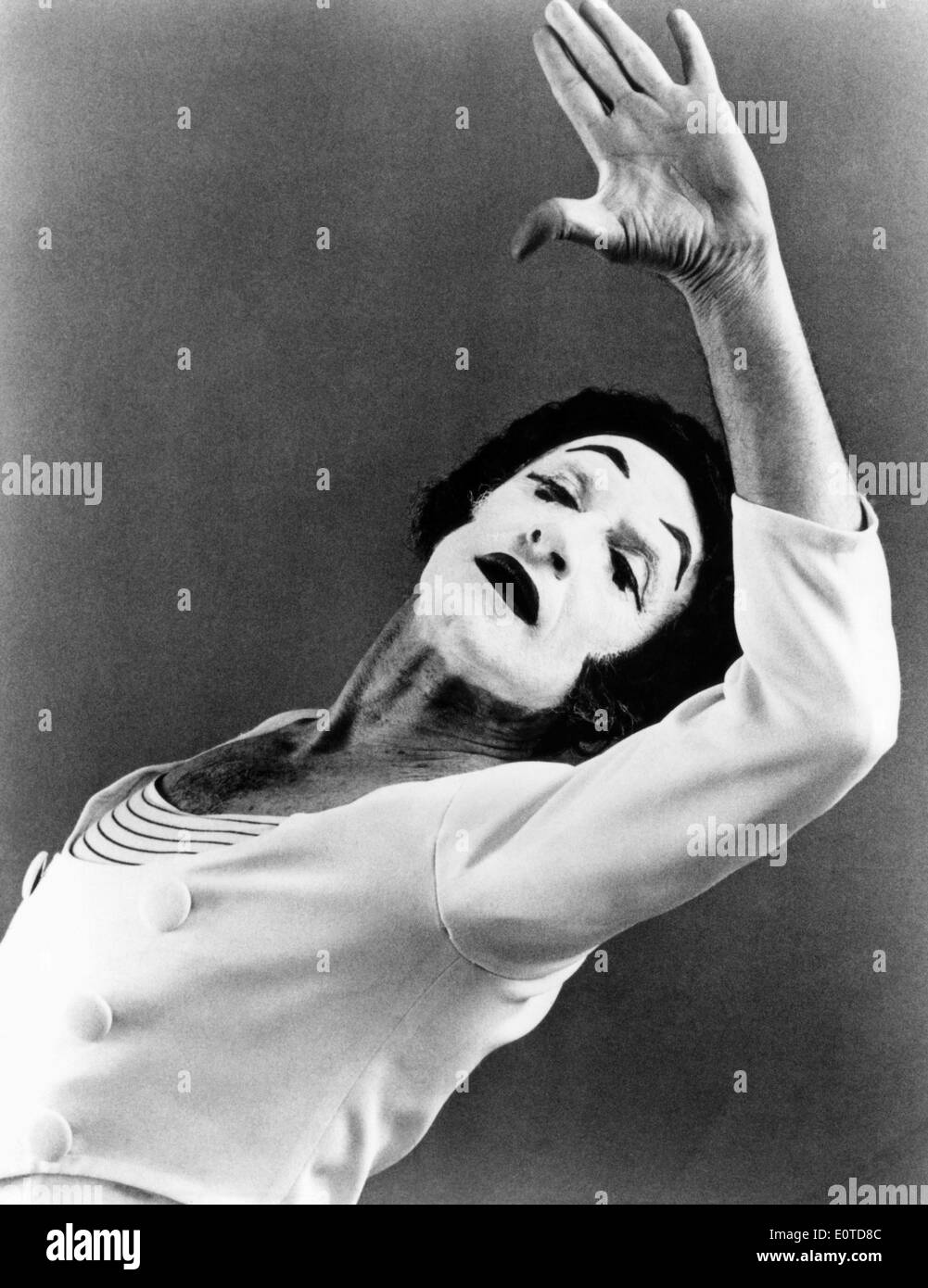 Marcel Marceau (1923-2007), French Actor and Mime, Portrait with White Makeup, circa 1960's - Stock Image