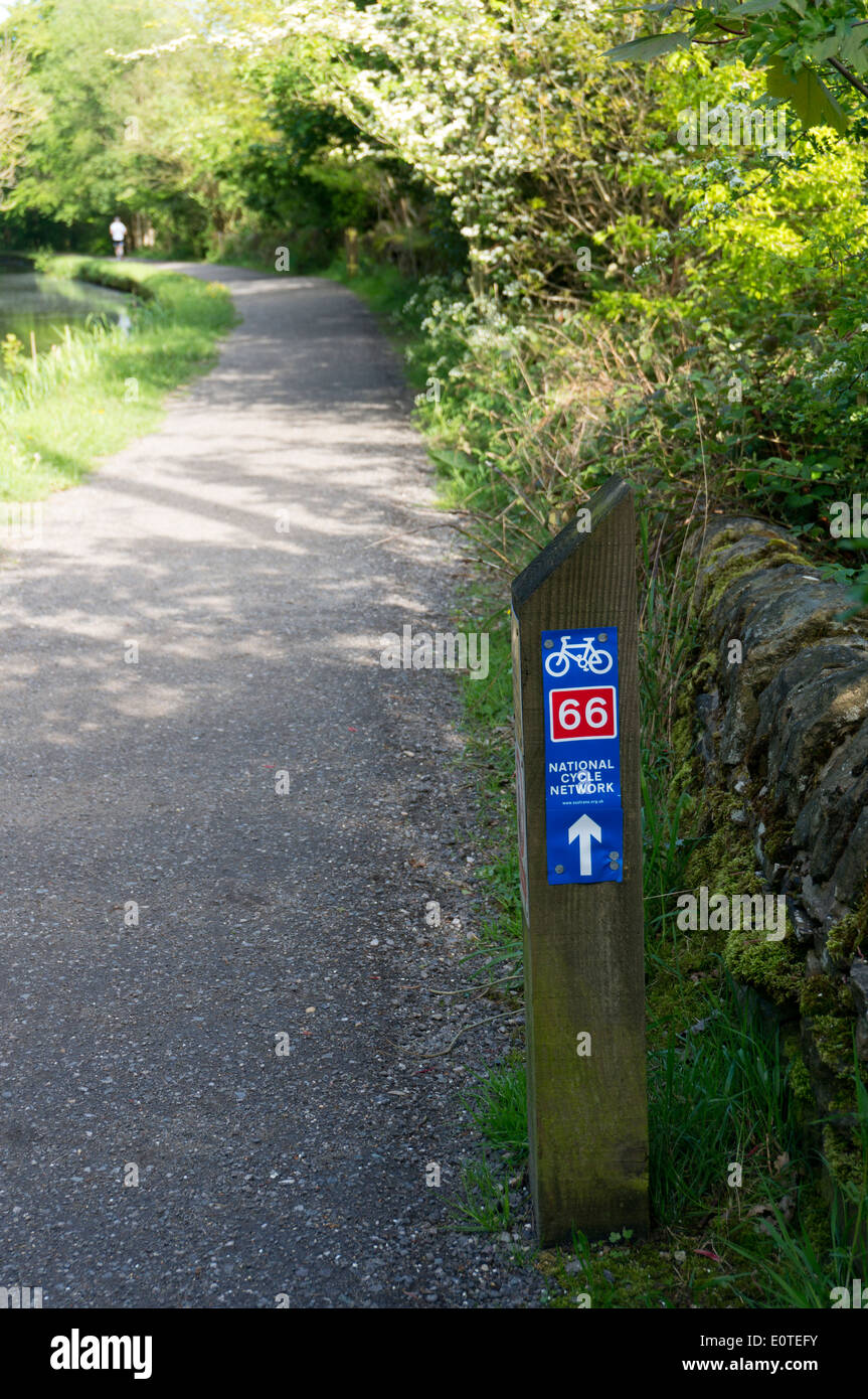 National Cycle Network sign on canal towpath in Yorkshre - Stock Image