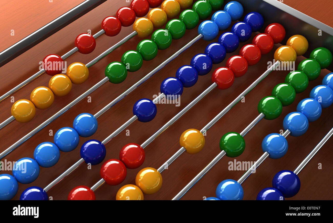 3d render of an abacus with colorful balls Stock Photo