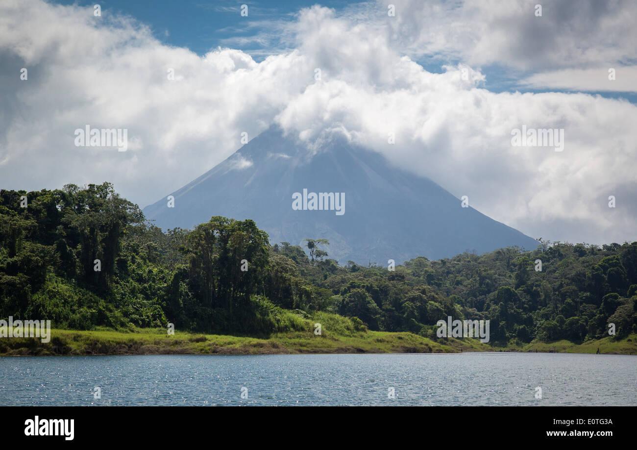 Arenal volcano from Lake Arenal near La Fortuna  in Costa Rica - Stock Image
