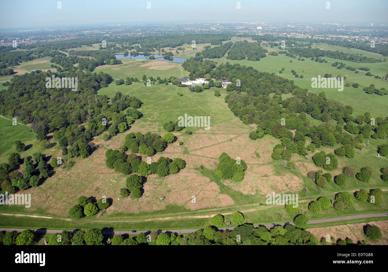 aerial view of White Lodge in Richmond Park, London, UK - Stock Image