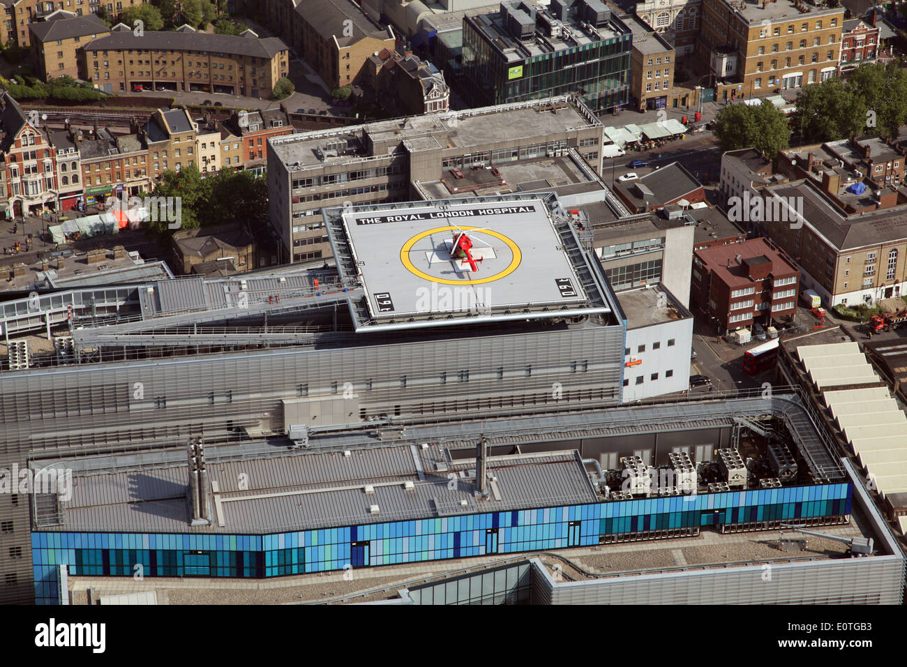 The emergency heli-pad, helicopter landing pad, on the roof of The Royal London Hospital, London, UK - Stock Image