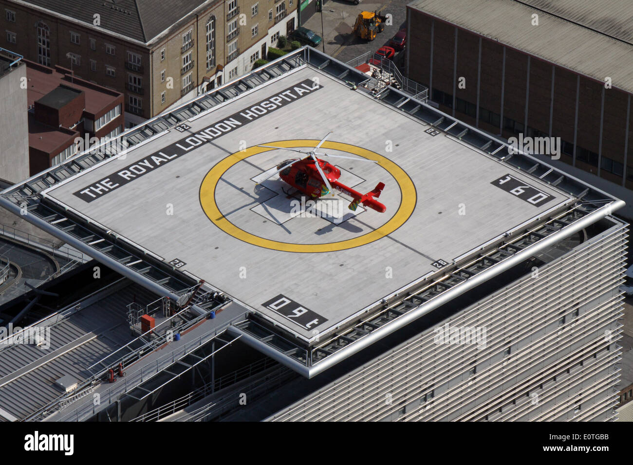 The emergency heli-pad, hospital helicopter landing pad, on the roof of The Royal London Hospital, London, UK - Stock Image