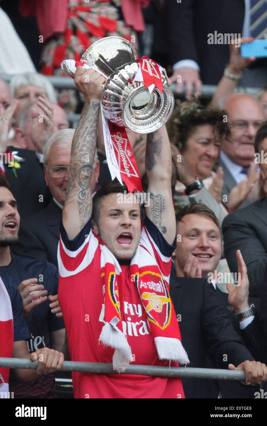 FA Cup Final - Arsenal v Hull City . . Wembley, London, UK . . 17.05.2014 Jack Wilshere (A) with the FA Cup. **This picture may only be used for editorial use** Pic: Paul Marriott Photography - Stock Image