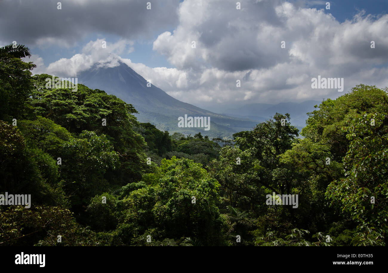 Arenal volcano Costa Rica from above Arenal Lake - Stock Image