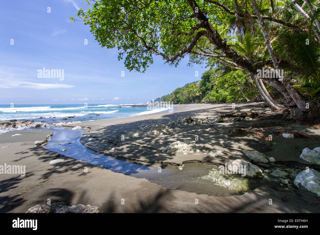 Small creek emerging onto the Pacific beach of the Corcovado National Park in Costa Rica - Stock Image