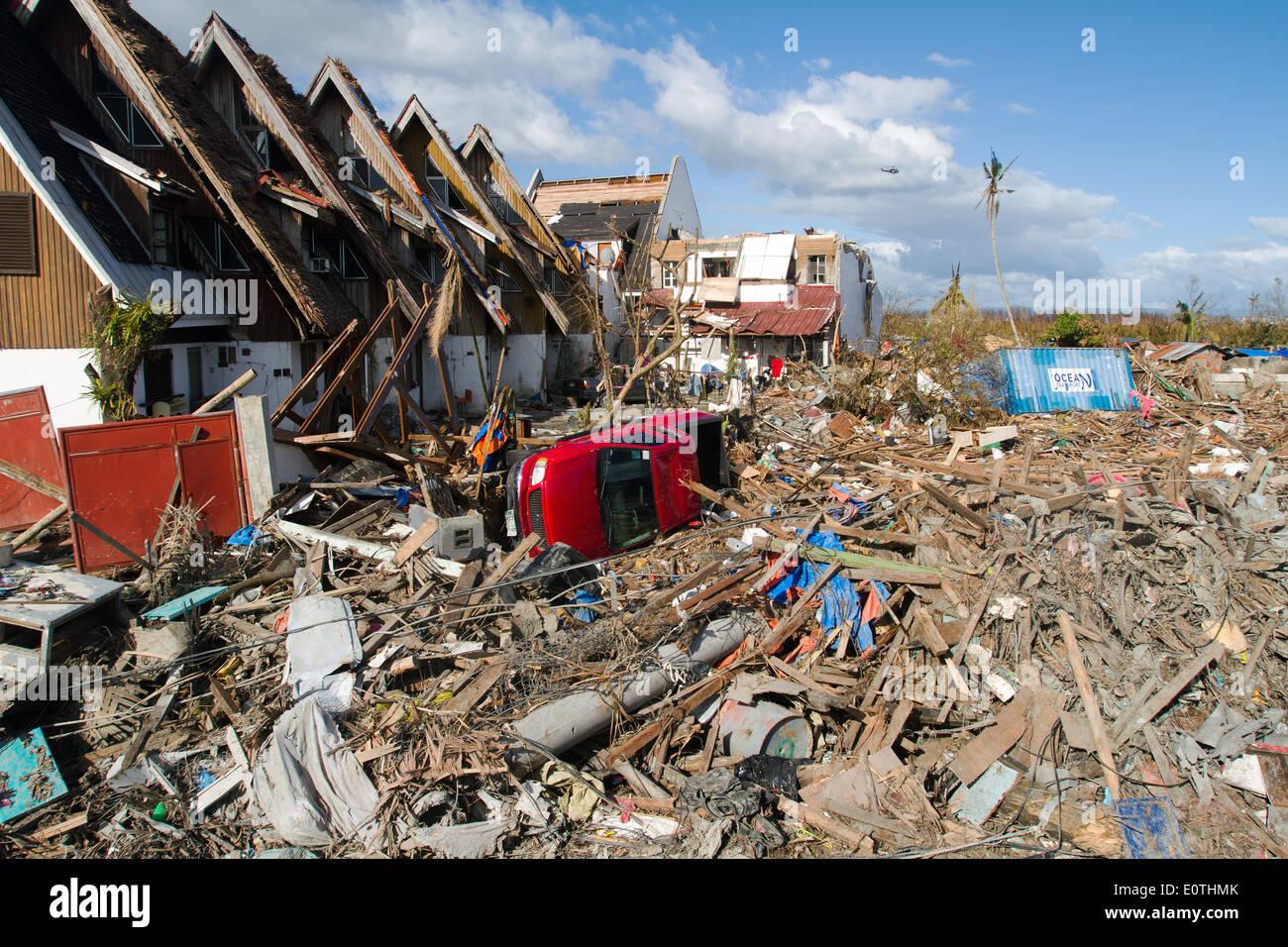 Flattened Tacloban City after hurricane Haiyan Philippines - Stock Image
