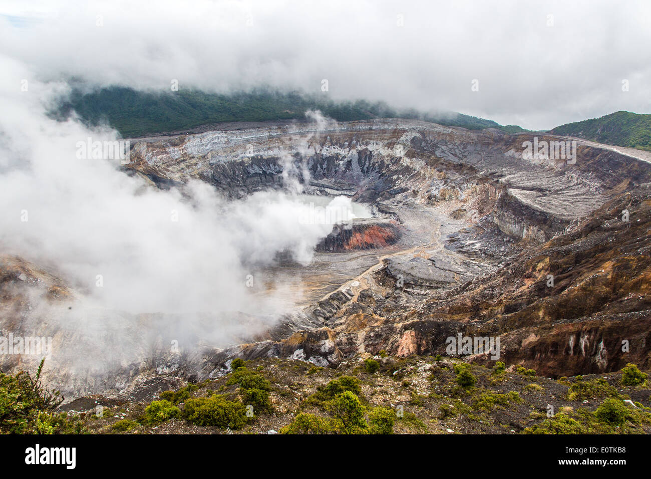 Steaming fumes issuing from the crater lake of Poas volcano near San Jose in central Costa Rica - Stock Image