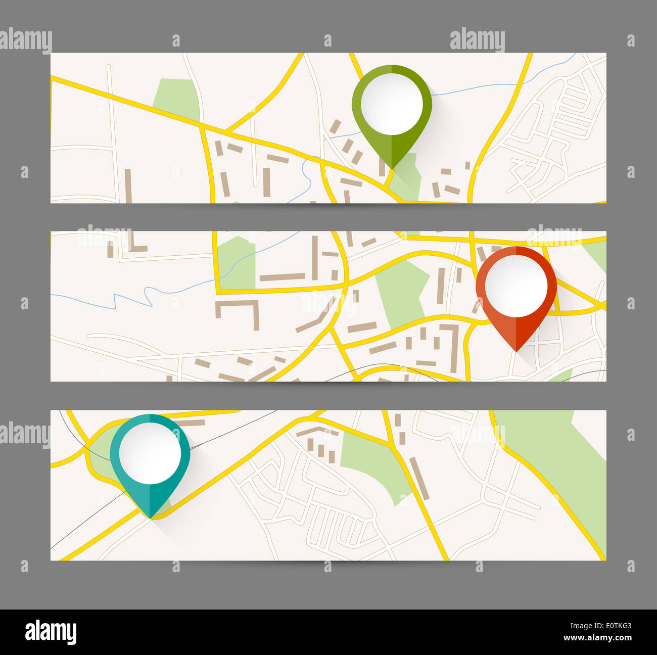 Set of banners with map and color pin pointer Stock Photo: 69383667