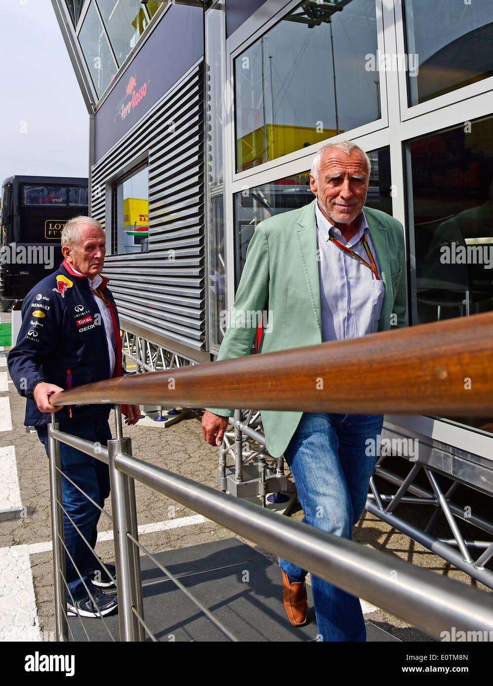 Formula One Grand Prix of Spain 2014 -- Red Bull Racing Team owner Dietrich Mateschitz and Helmut Marko - Stock Image