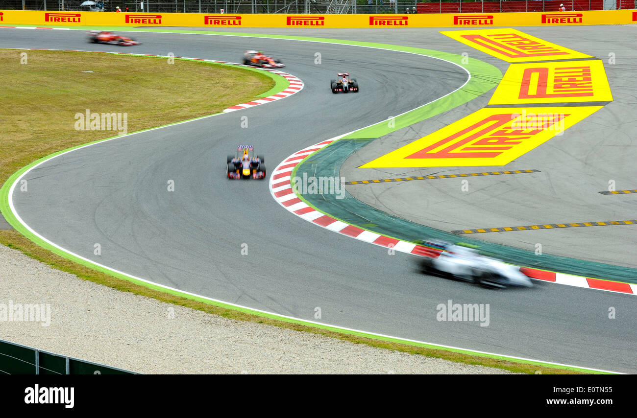 Motorsport 9th to 11th May 2014, Circuit de Catalunya, Montmelo, Spain, FormulaOne Grand Prix of Spain ---- race cars blurred - Stock Image