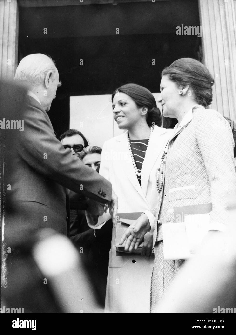 Christina Onassis greets a colleague - Stock Image