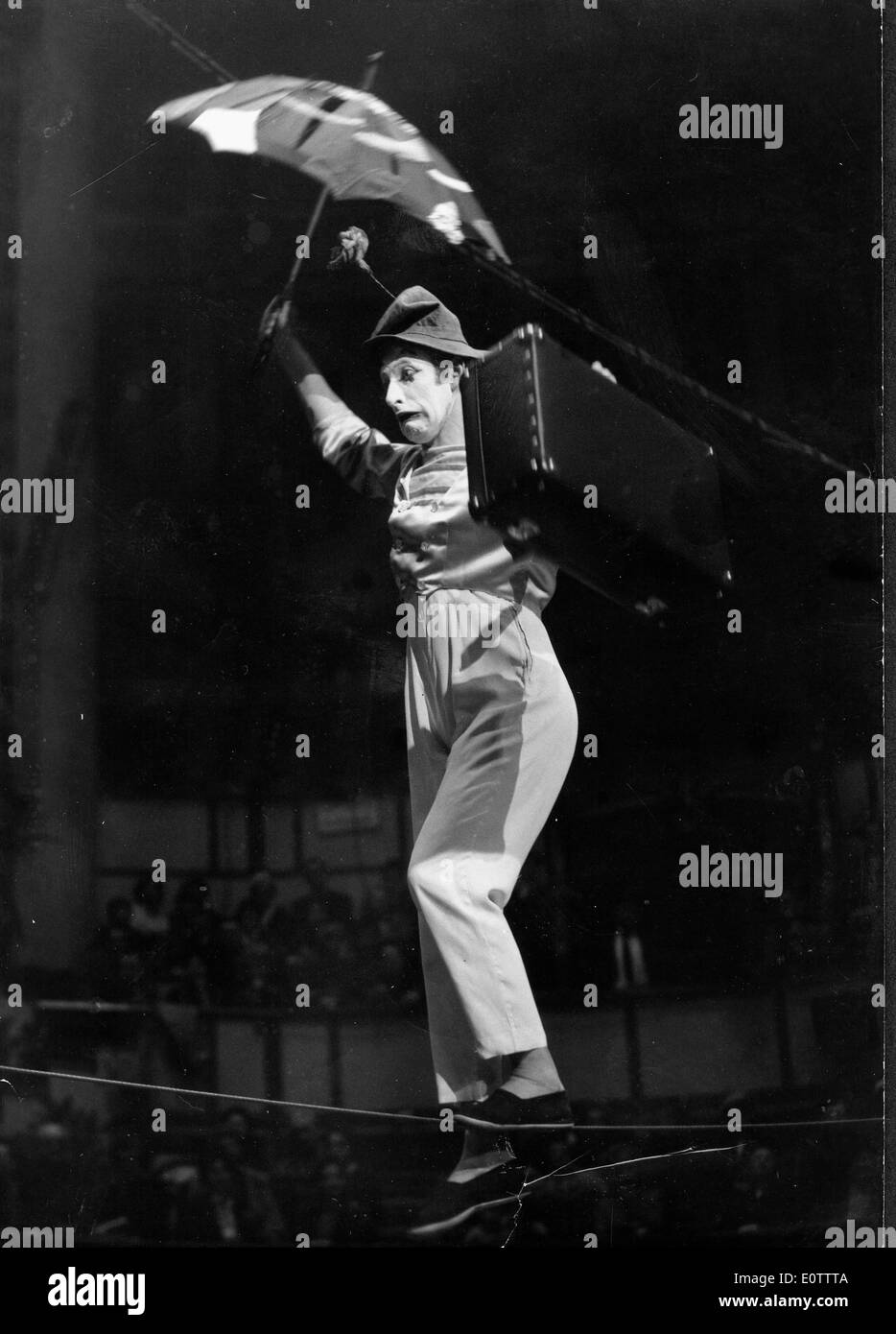 French mime Marcel Marceau walking the tightrope - Stock Image