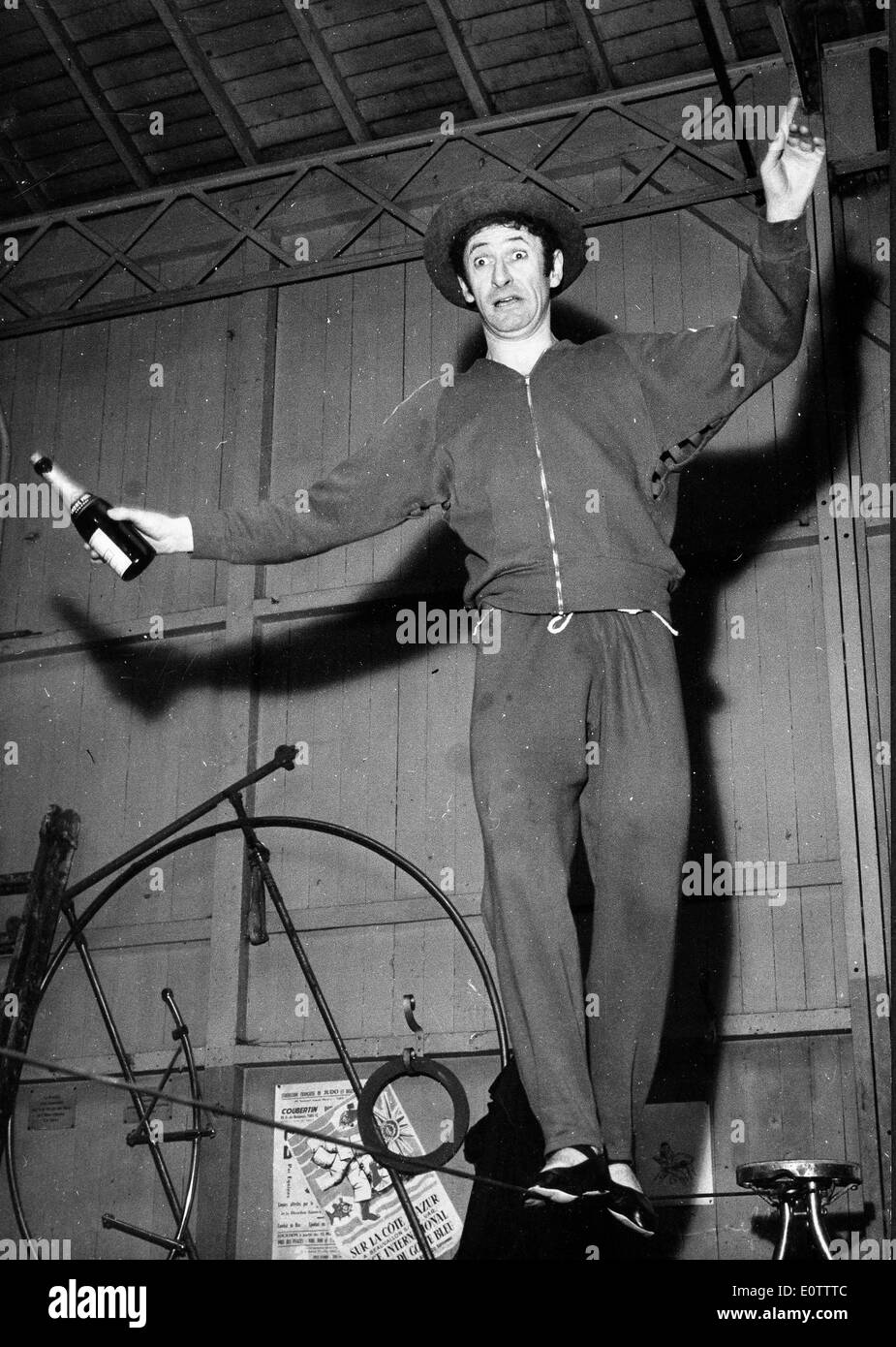 French mime Marcel Marceau practicing walking the tightrope - Stock Image