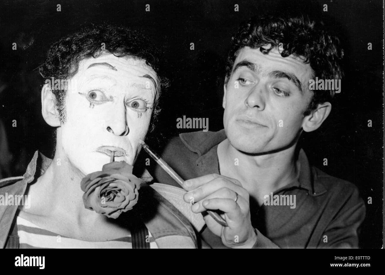 French mime Marcel Marceau getting his makeup done for a performance - Stock Image
