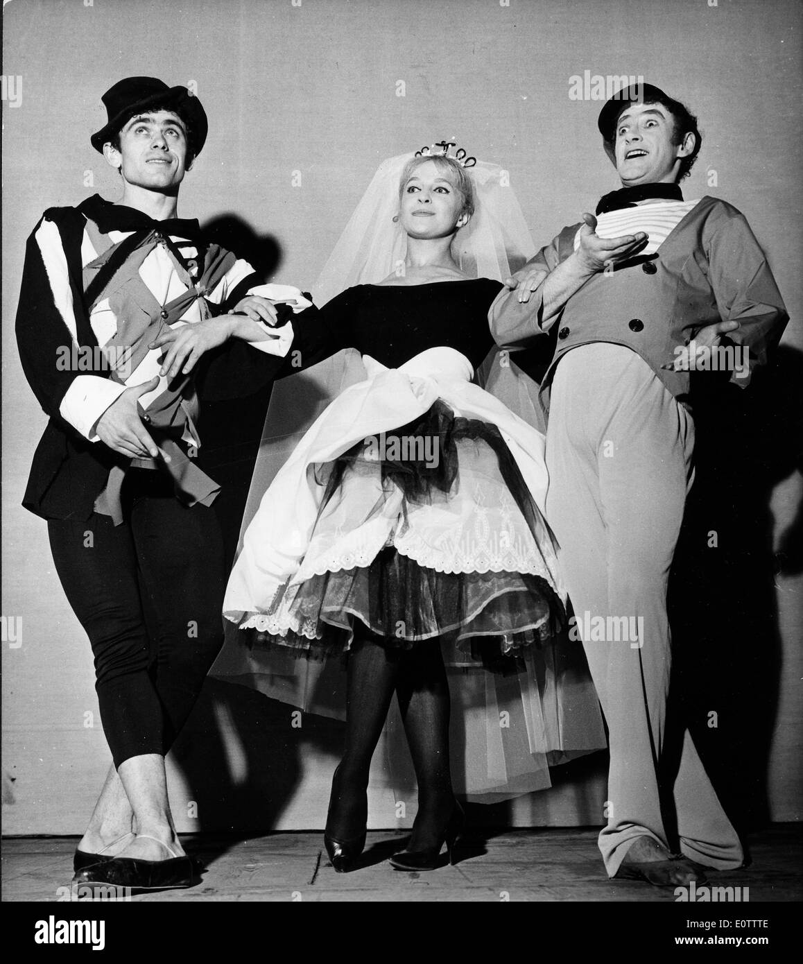 Mime Marcel Marceau on stage with co-stars - Stock Image