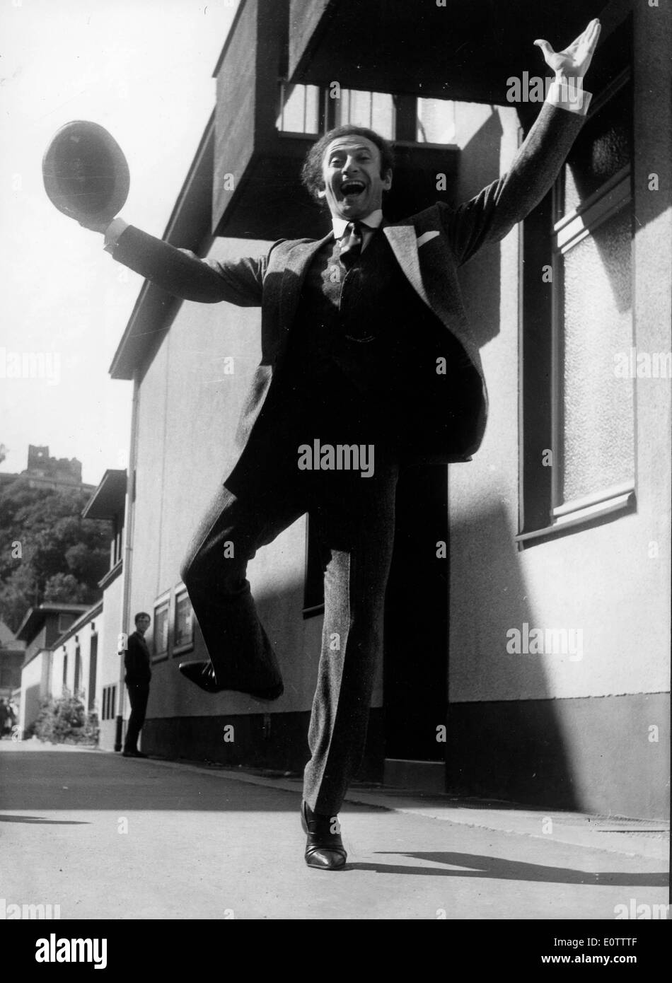 French mime Marcel Marceau excited on the streets of Paris - Stock Image