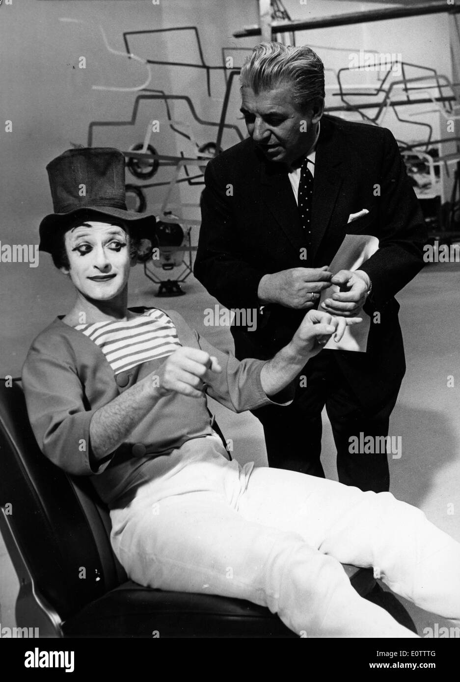 French mime Marcel Marceau acting in a skit - Stock Image