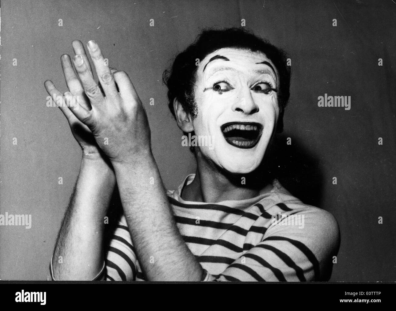 French mime Marcel Marceau miming - Stock Image