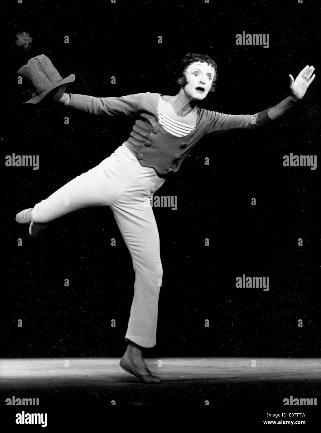 French mime Marcel Marceau on stage performing - Stock Image