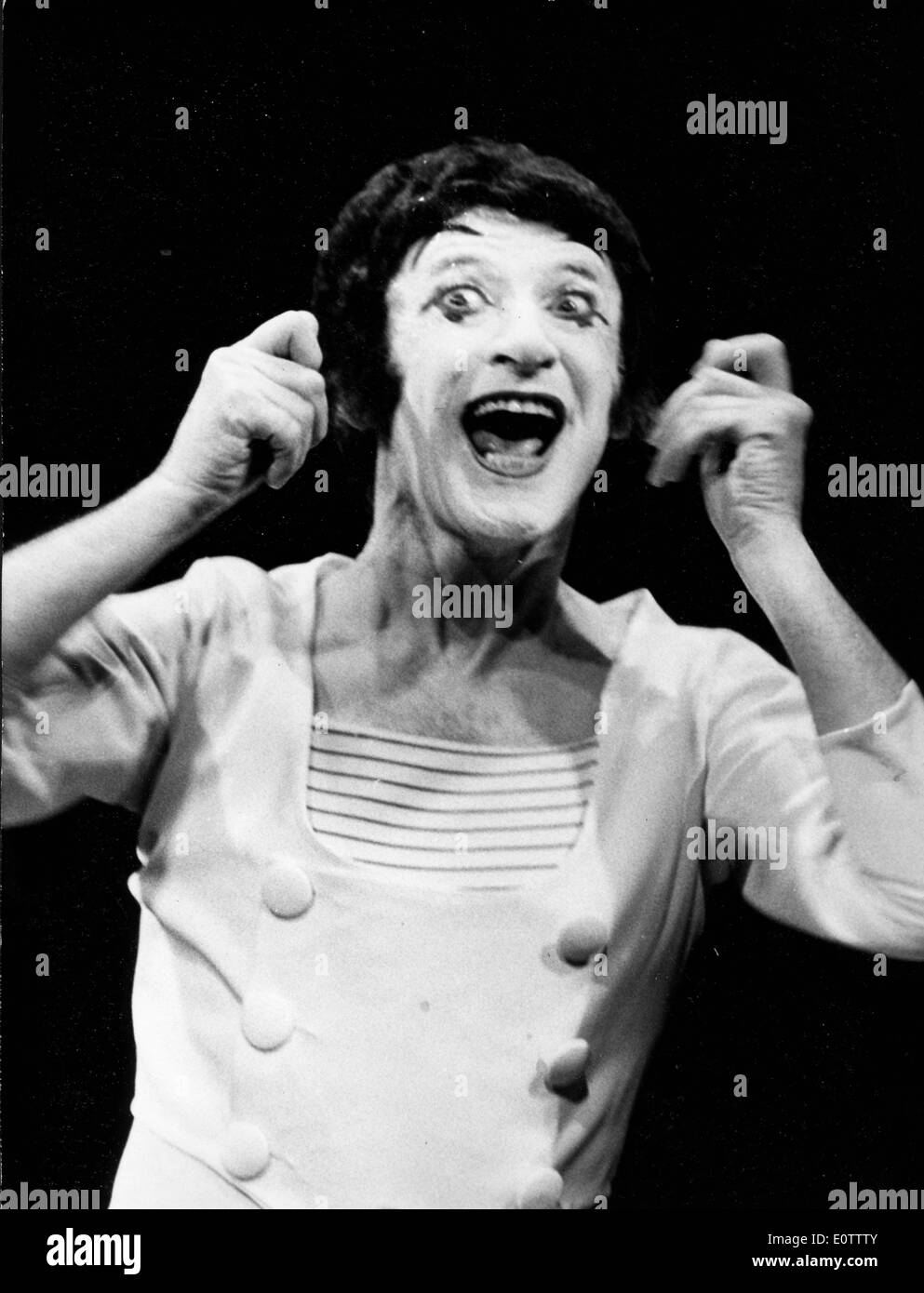 French mime Marcel Marceau acting during a show Stock Photo