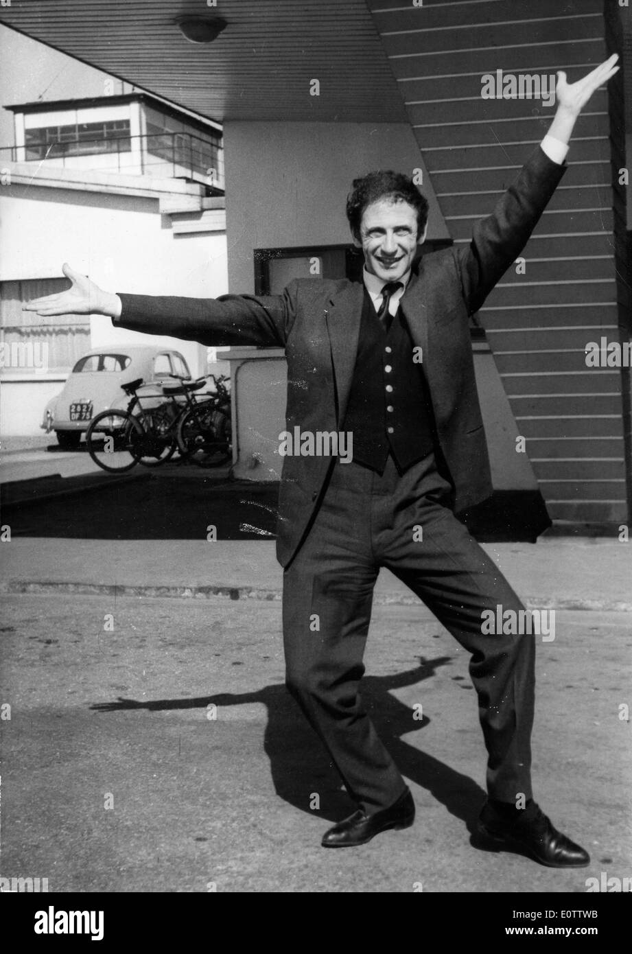 French mime Marcel Marceau in street clothes - Stock Image