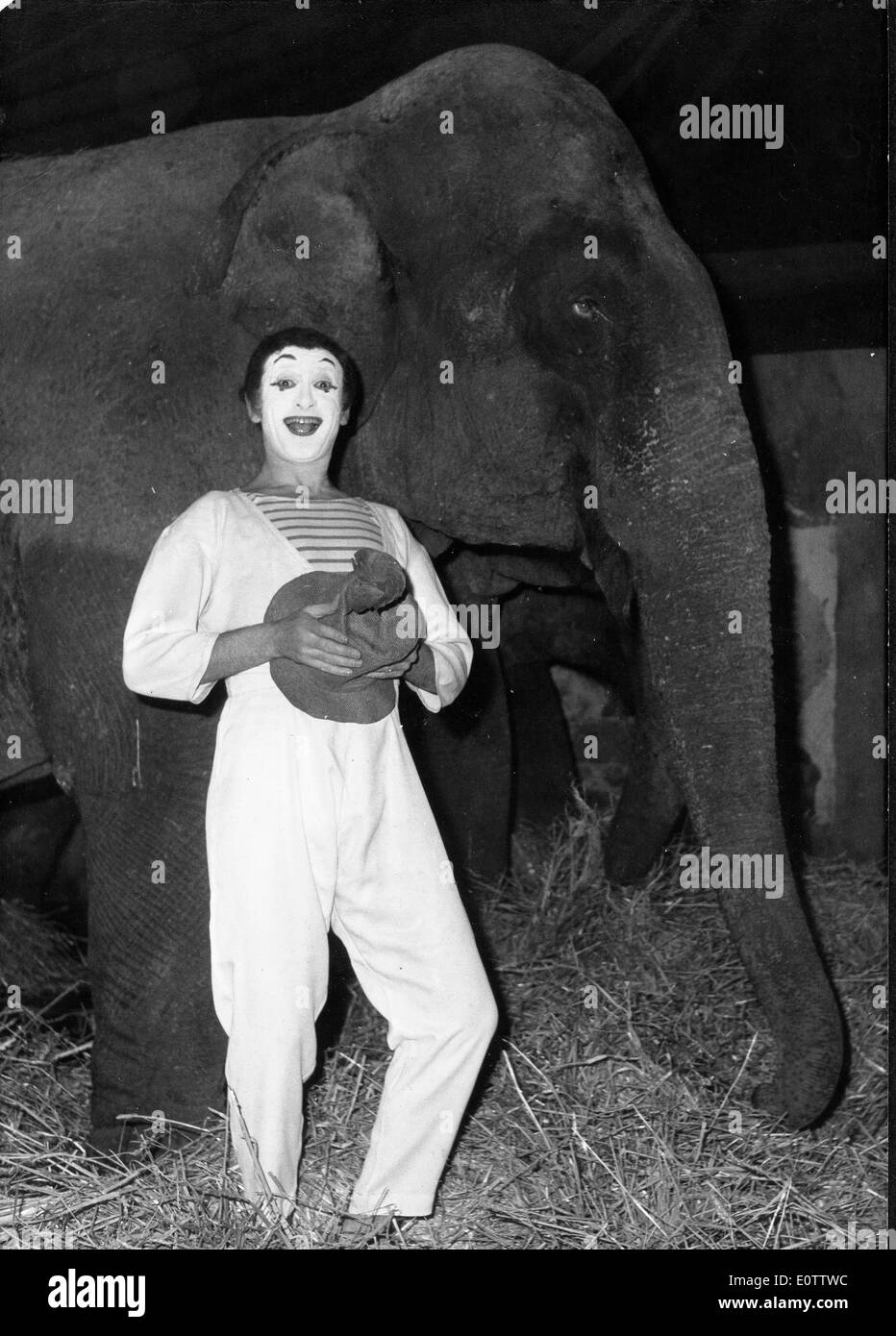 French mime Marcel Marceau with an elephant before a show - Stock Image