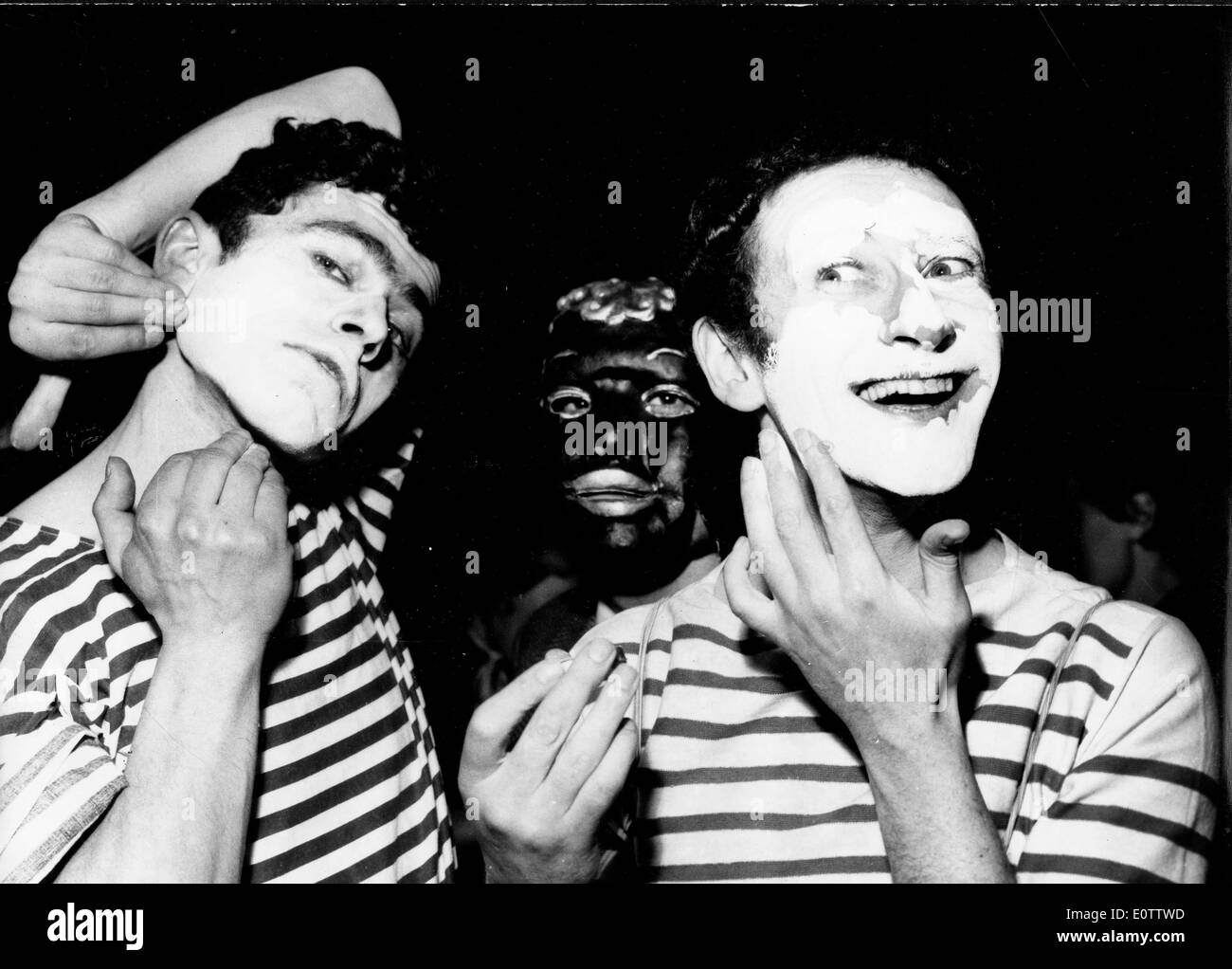 French mime Marcel Marceau preparing for a show with other mimes - Stock Image