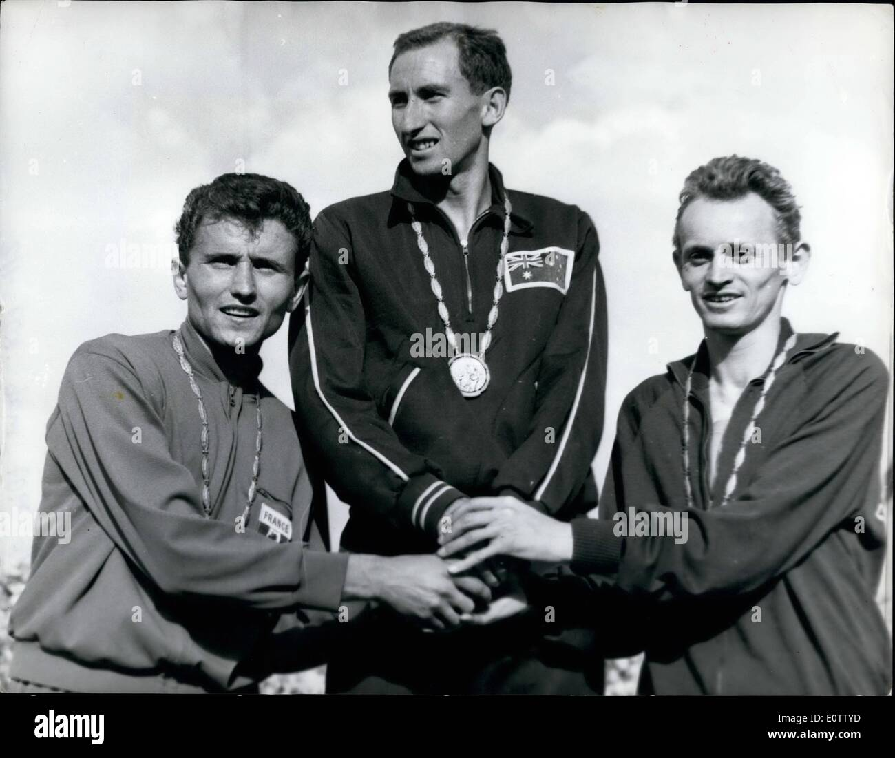 Sep. 09, 1960 - The 1960 Olympic Games in Rome - Herb Elliott zooms to victory and world Record in 1,500 metres: Herbert James Elliott, of Australia , became a super athlete in the Olympic Stadium in Rome yesterday when he won the 1,500 metres classic in the new world record time of 3 min. 35.5 secs. Bernard Jazy, of France, was second, and Hungarian Istbvan Rozsavolgyi third - Stock Image
