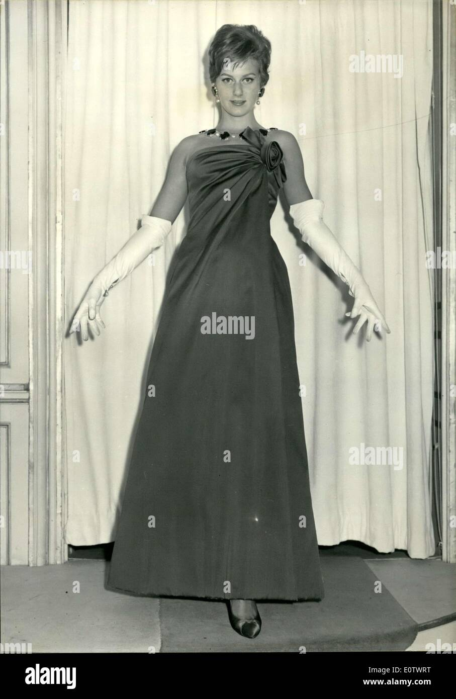 Aug. 13, 1960 - This evening gown by Jean Patou is made from an ...