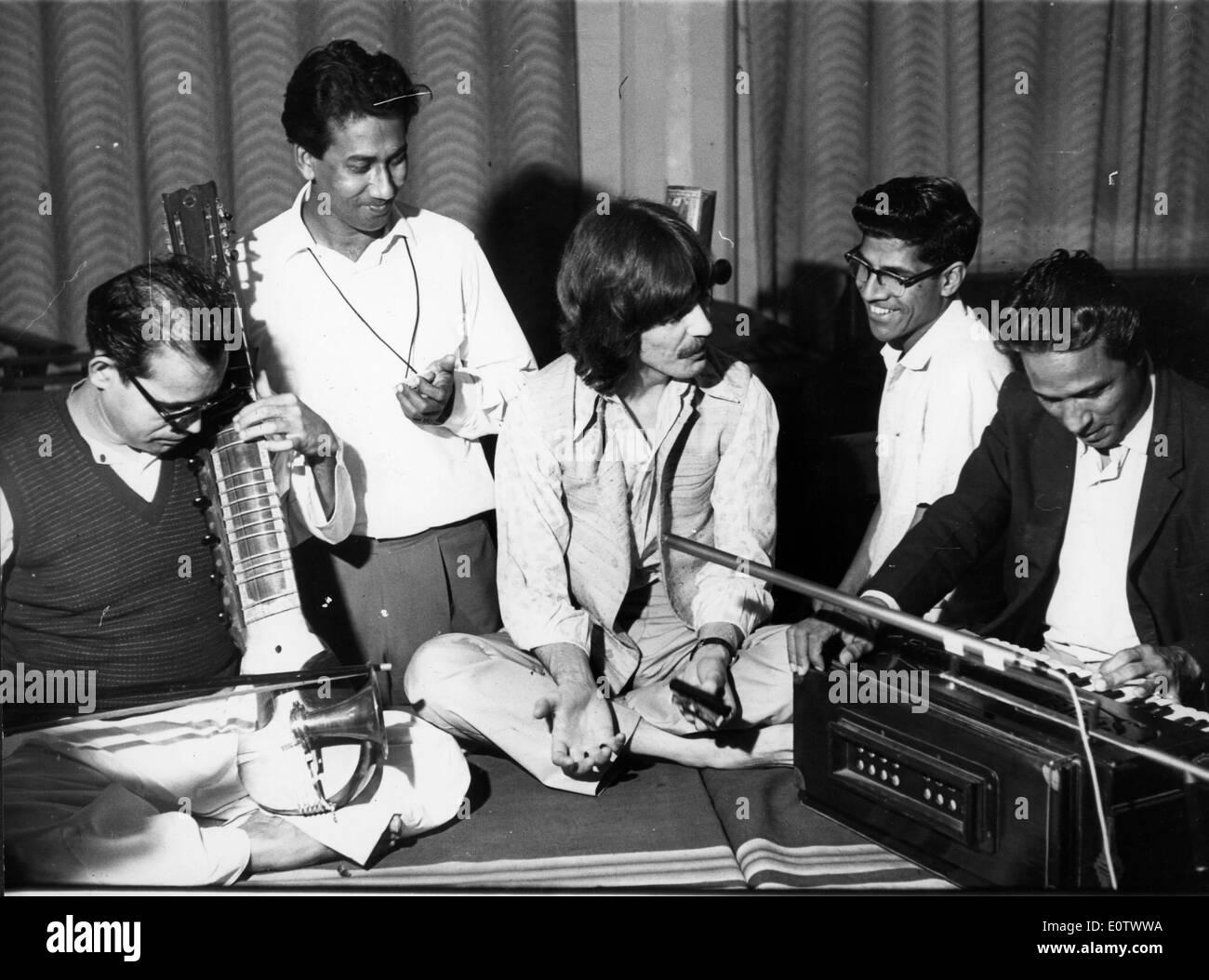Beatle George Harrison at the recording studio - Stock Image