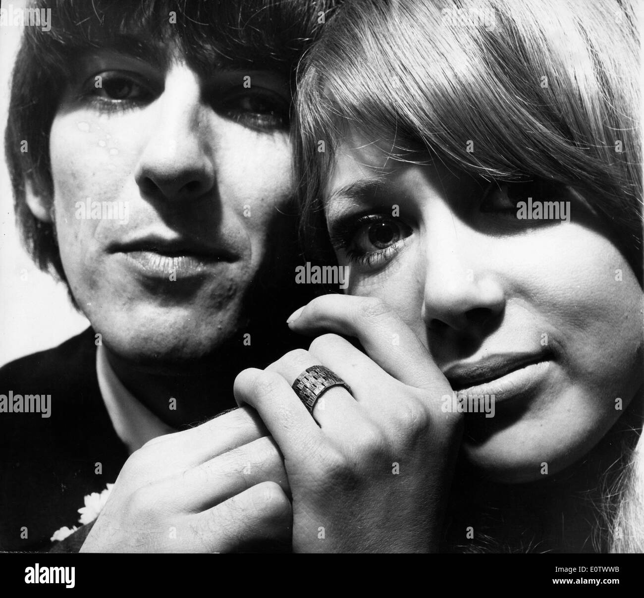 Close-up of Beatle George Harrison and wife Pattie Boyd - Stock Image