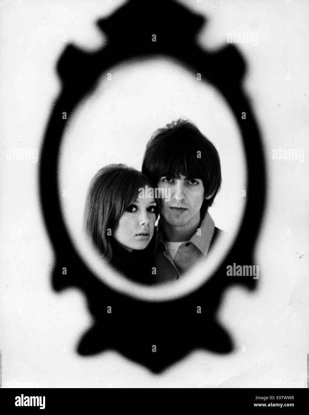 Portrait of Beatle George Harrison and Pattie Boyd - Stock Image