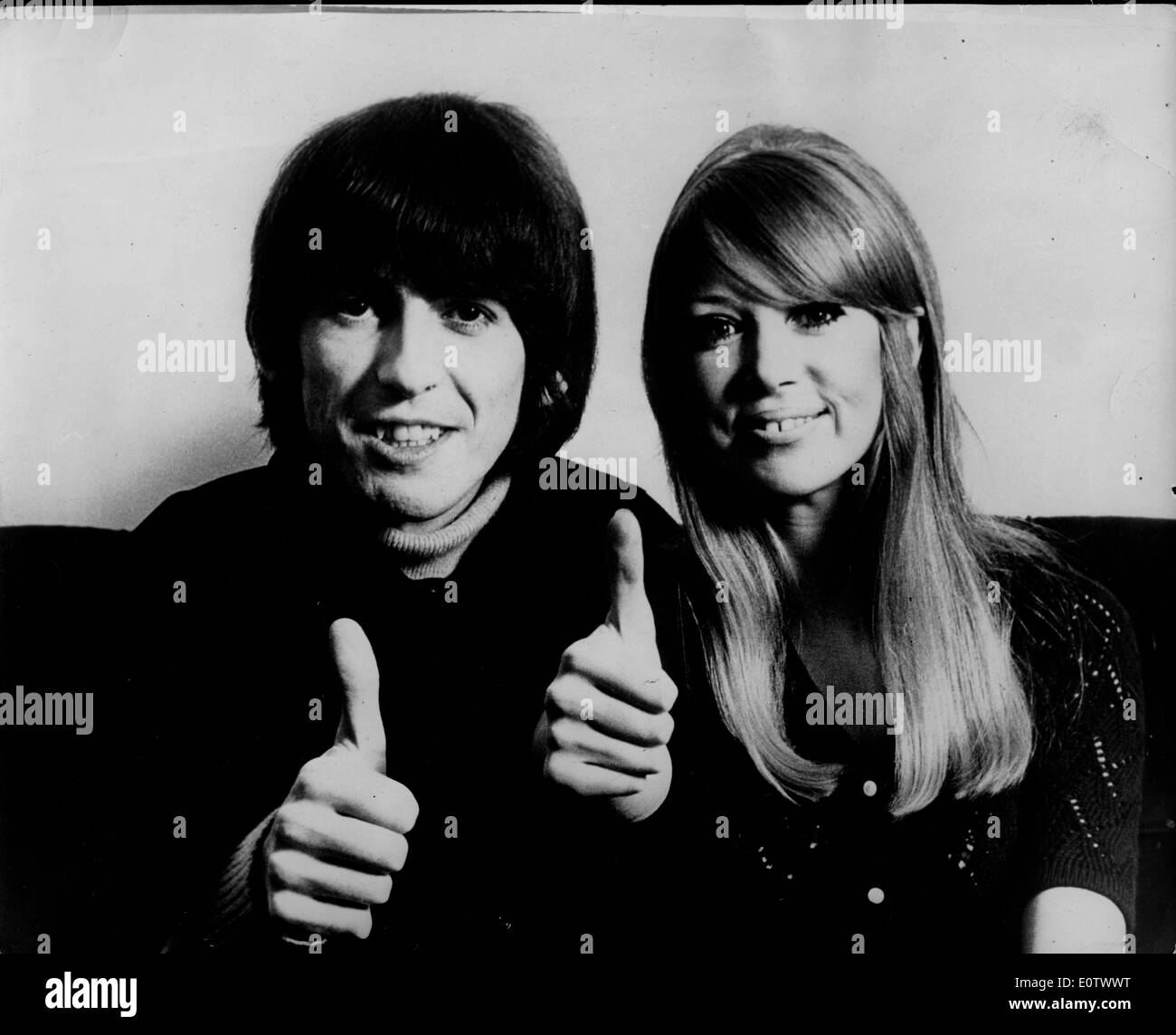 Beatle George Harrison And Pattie Boyd Thumbs Up