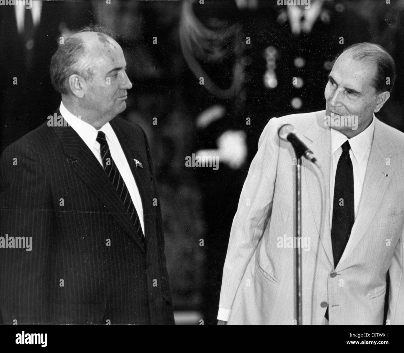 Mikhail Gorbachev talks with colleague at press conference Stock Photo