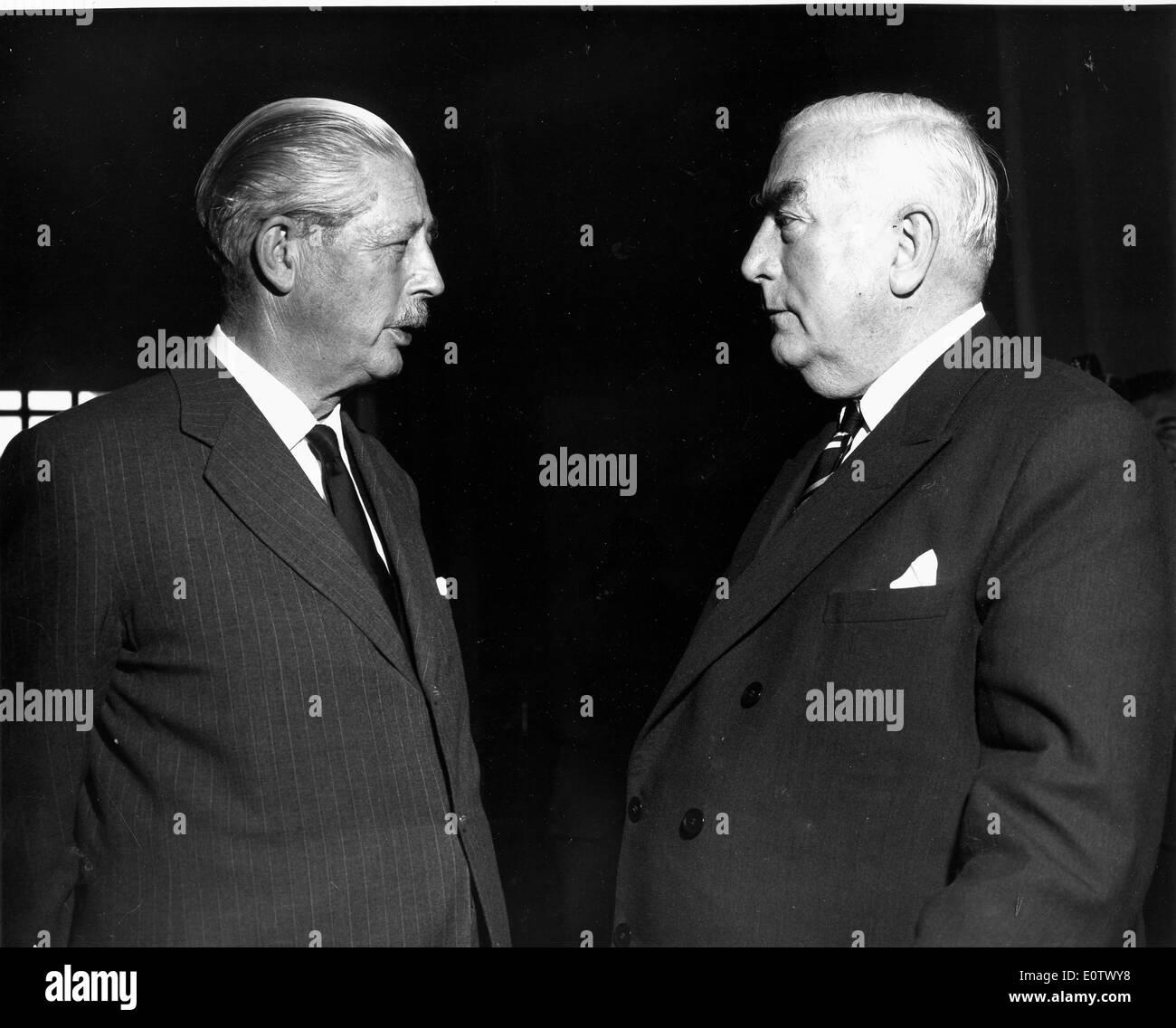 Harold Macmillan talks with Robert Menzies at UN - Stock Image
