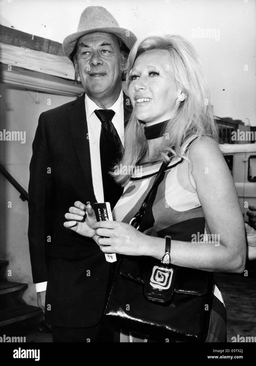 Actor Rex Harrison With Wife Elizabeth Rees Williams Stock